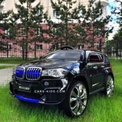 Электромобиль BMW X5 F15 черный (резиновые колеса, кожа, пульт, музыка, усиленный аккумулятор, глянцевая покраска)