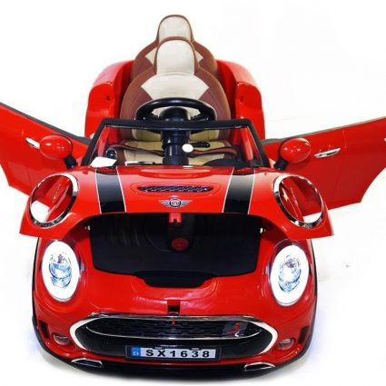 Детский электромобиль Mini Cooper красный (2х местный, колеса резина, кресло кожа, пульт, музыка)